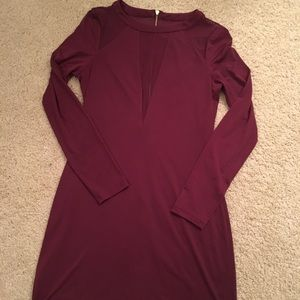 Express Dresses - Express Burgundy/Cranberry Mesh Insert Dress